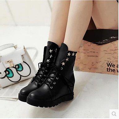 4 de pour 4 chaussures Bottes Automne Combat Bottes PU Casual Noir Blanc Black Printemps 3 combat femmes 4in de zTxnnAt