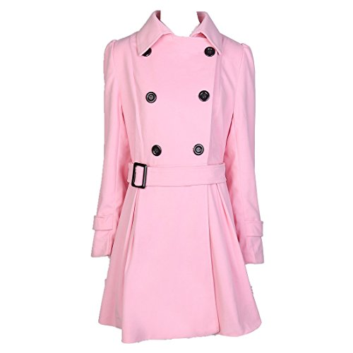 ForeMode Women Double Breasted Trench Coat with Belt Buckle Spring Mid-Long Long Sleeve Casual Dresses Style Outwear(Pink - Coat Dress Pink