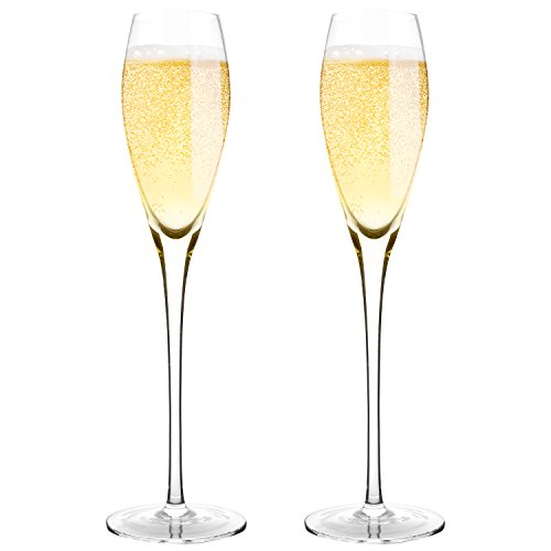 Hand Blown Crystal Champagne Flutes - Bella Vino Standard Champagne Glasses Made from 100% Lead Free Premium Crystal Glass,Perfect for Any Occasion,Great Gift, 10.5', 7 Oz, Set of 2, Clear