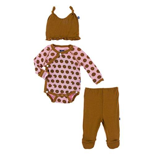KicKee Pants Ruffle Kimono Newborn Gift Set with Elephant Gift Box, Little Girls - Lotus Cookies, 0-3 Months