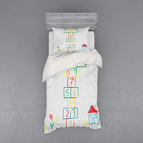 Lunarable Hopscotch Bedding Set, Childish Style Doodle Sketch House Flower and Stars Numeral Squares Fun Design, 3 Piece Duvet Cover Set with Sham and Fitted Sheet, Twin Size, - Quilt Hopscotch Set
