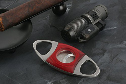 Mantello Cherry Wood & Stainless Steel Cigar Cutter Guillotine Double Cut Self Sharpening Blades
