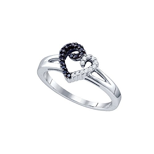 Sterling Silver Black Colored White Diamond Heart Love Ring 1/6 Cttw Size 8 by JAWAFASHION