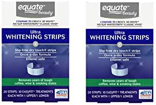 2 Packs - Ultra Teeth Whitening Strips, 10 Treatments/Packs (Compare to Crest 3D White No Slip Whitestrips Classic Vivid) Removes Years Of Tough Coffee, Wine & Smoking Stains, Slip-Free Dry Touch