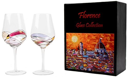 Red Wine Glasses- 2-Piece Set of Hand Painted Wine Glasses- FLORENCE Inspired Glass Collection- Elegant and Balanced Design- Original Gift Idea- Lead-Free Glass (Collection Glass Wine)