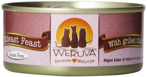 Weruva Classic Cat Food, Mideast Feast with Grilled Tilapia & Whole Meat Tuna in Gravy, 5.5oz Can (Pack of 24) -