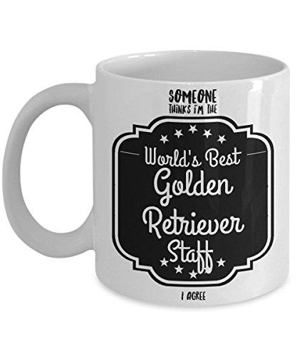 World's Best Golden Retriever Gifts - Great Gift for Golden Retrievers Mug - Show Your Favorite Golden Retriever Staff Some Love (Dark Bronze Golden Retriever)