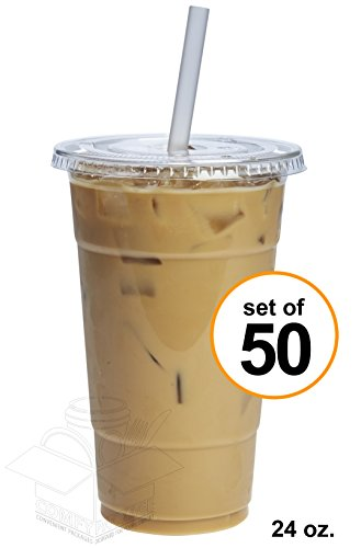 COMFY PACKAGE 50 Sets 24 oz. Plastic CRYSTAL CLEAR Cups with Flat Lids for Cold Drinks, Iced Coffee, Bubble Boba, Tea, Smoothie etc.
