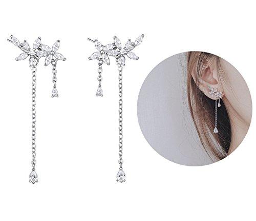 Leaf Wrap Earrings 925 Sterling Silver Cubic Zirconia Flowers Threader Tassel long Stud Earrings by Amkaka