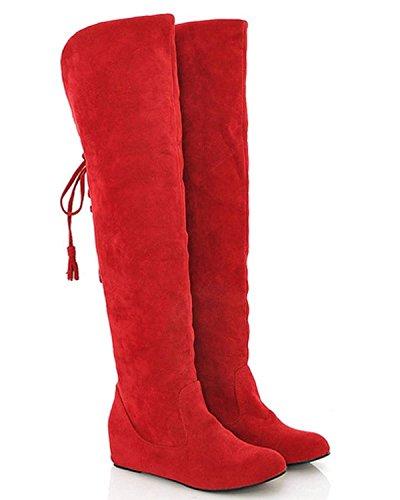 Minetom Donne Slouchy Pelliccia Caldo Piatto Rosso Moda Stivali Stivali Neve Stivali Ginocchio Inverno Da dd0xwR48rq