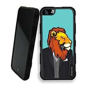 Shawnex Springink Hipster Lion Wedding Suit iPhone 5 Case - Rigid Shell Tough Protective Case iPhone 5 Case