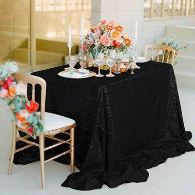 KSFDNV Konferenztafel, Hochzeitstraksel, ThementischCover, pink Paillettentablette, Rundtischtablette, silvernes Tischtuch, Party Kreisplatz 275cm Elegantes black