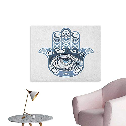 Anzhutwelve Evil Eye Wallpaper Cultural Good Luck Amulet Hand Drawn Artsy Magical Superstitious Sacred Poster Print Dark Blue Pale Blue W36 xL32