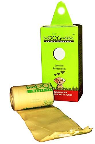 45 Dog Poop Waste Bags – Biodegradable Compostable Leak Proof and Tear Resistant – Vegetable Based Environmentally…