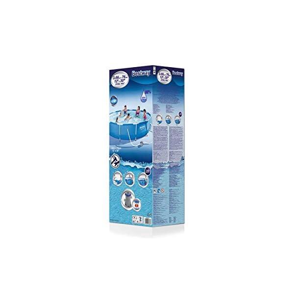 Bestway Steel PRO Piscina con Pompa Filtro e Cartuccia, 6473 Litri, Bianco, 366x366x76 cm 4 spesavip