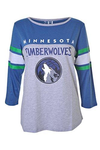 UNK NBA Women's Minnesota Timberwolves T-Shirt Raglan Baseball 3/4 Long Sleeve Tee Shirt, Medium, Blue Minnesota Timberwolves T-shirt