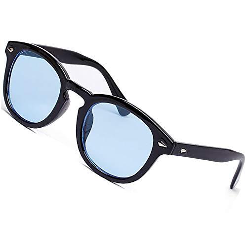 Vintage Round Sunglasses Aviator Nerd Women Colorful Summer Eyewear Black Frame See Through Lens Pink Blue Transparent ()