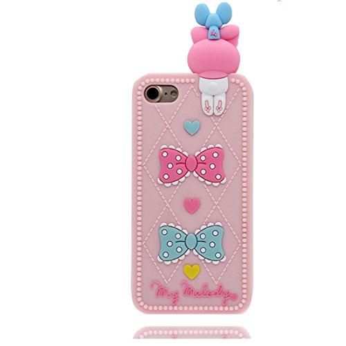 iPhone 7 Copertura,iPhone 7 Custodia,Coniglio grazioso e Elephant Cartoon 3D Gomma morbida Custodia protettiva case cover per iPhone 7 4.7 inch-rosa