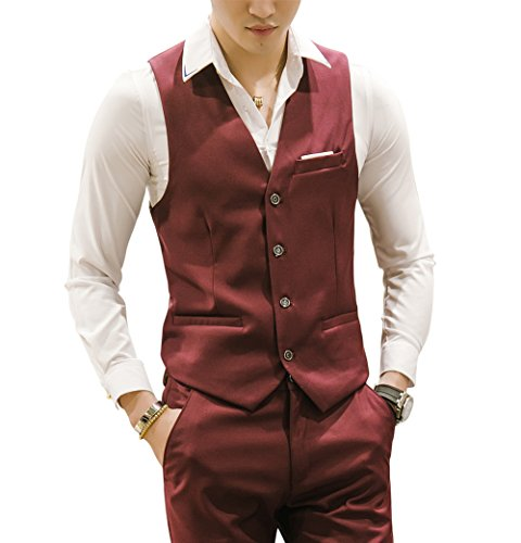MOGU Mens Waistcoat Causal Suit Vests 10 Colors US Size 44 (Label 6XL) Wine - Forest Cherry Wine