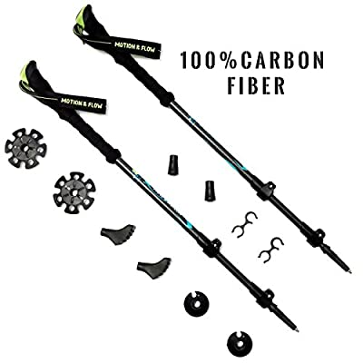 1 Pair Of Motion and Flow -Anti Fatigue Shock Absorbing 100% Carbon Fiber, Quick Lock Adjustable, Ultra Light Trekking Poles For Trekking / Walking / Hiking /For Men / Women / Children.