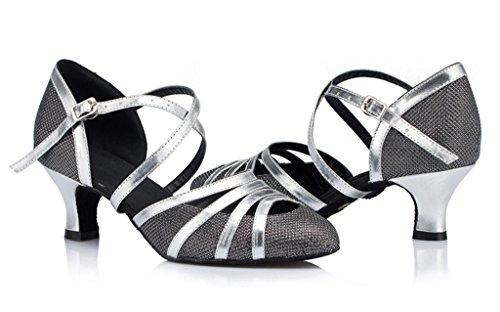 Meijili Ladies Wedding Black Heel 5cm Mesh PU Sandals Evening Modern Shoes Dance Ballrom Leather Tango Salsa Womens Samba rwzfqr