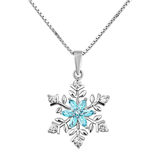 Lifequeen 925 Sterling Silver Christmas Snowflake Pendant Necklace 18'' (Blue)