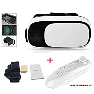 """3D VR Glasses with/without Controller Portable 3D VR Headset Virtual Reality Headset Movies and Games for iPhone and Android 3.5-6"""" Smartphones Cell Phones"""