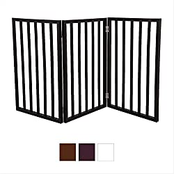 Gate for Dog, Cats - Freestanding Wooden Pet Gate - Dog Doors - Cat Doors, Gates & Ramps, Color: Dark Brown, Size : 55 x 1 x 24 inches