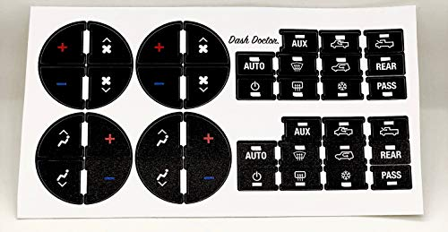 Improved Design! 2007-2015 GM Air Conditioning/Heating Control Button Restoration Decal Set! Fits Chevy GMC Cadillac Buick, Silverado Tahoe Suburban Avalanche Traverse Sierra Yukon Escalade Enclave
