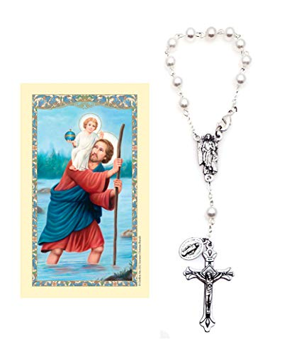 Elysian Gift Shop Guardian Angel One Decade Auto 6mm Imitation Pearl White Round Beads Rosary- Travel Protection Rearview Mirror Accessory - Includes St Christopher Prayer Card