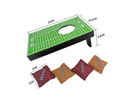 SPORT BEATS Sportbeats Mini Portable Cornhole Toss Game with 4 Bean Bags,Great for Fun and Stress Relief,Football -