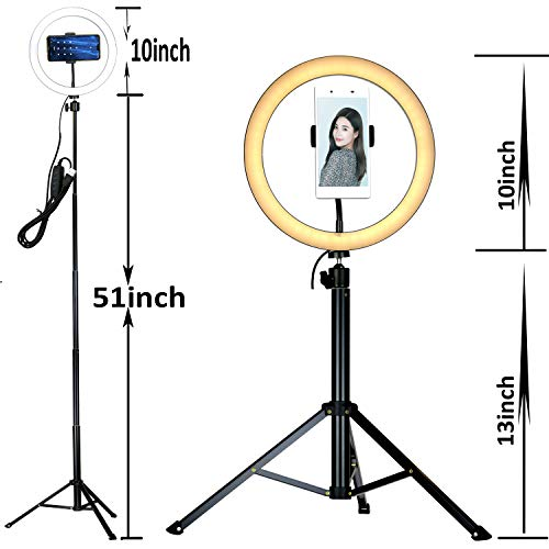 10'' Selfie LED Ring Light with Tripod Stand &Cell Phone Holder Desktop Lamp Mini Led Camera Light for YouTube Video and Live Makeup/Photography by COOSPIDER (Image #2)