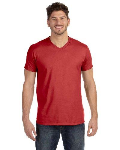 Red Vintage T-shirt (Hanes Men's Cotton Nano V-Neck T-Shirt,Vintage)