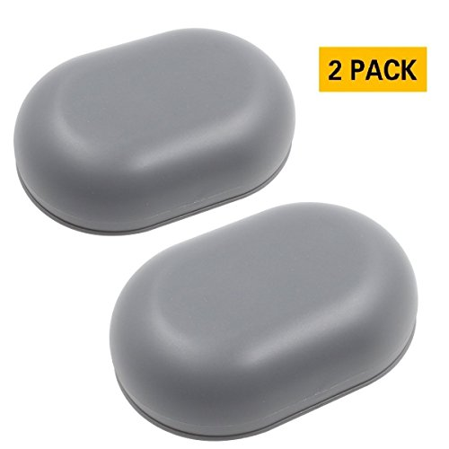 TOPSKY Soap Box, Soap Dish with Lid, Soap Holder with Drain, Soap Case Container for Shower, Bathroom and Kitchen Sinks, Grey, 2 pack