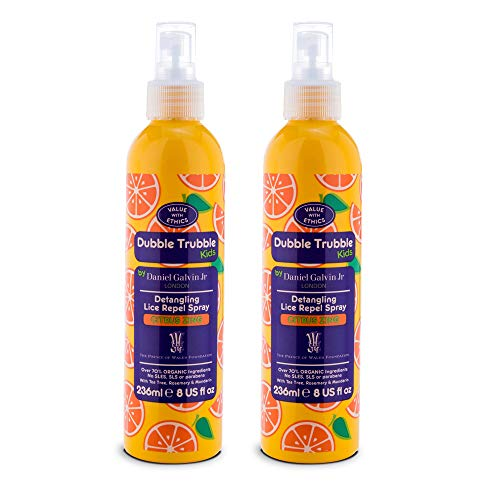 Dubble Trubble Natural Lice Prevention Spray for Kids, Lice Repellent, Detangling Conditioner, 8 Ounces