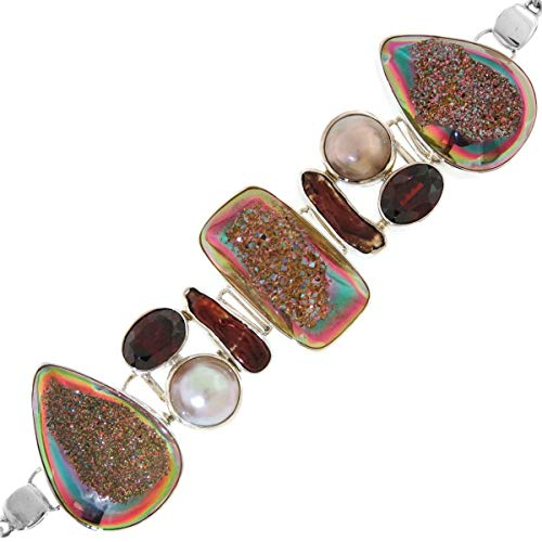 1 3/8'' Titanium DRUZY White MABE Pearl RED Garnet 925 Sterling Silver Bracelet YE-1531
