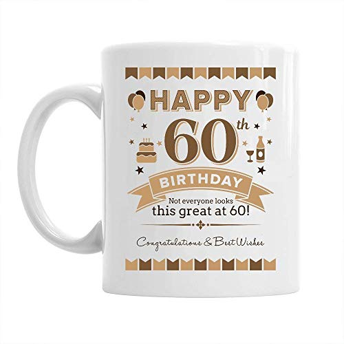 60th Happy Birthday Gift Mug Present for 60 Men 10oz Coffee Mug