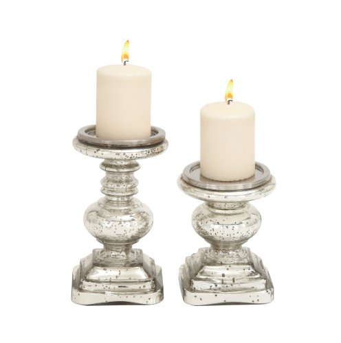 Deco 79 28883 Glass Candleholder Set of 2 (Glass Holders Mercury Pedestal Candle)