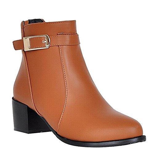 Carolbar Women's Concise Casual Buckle Mid Heel Zip Martin Boots Dark Yellow