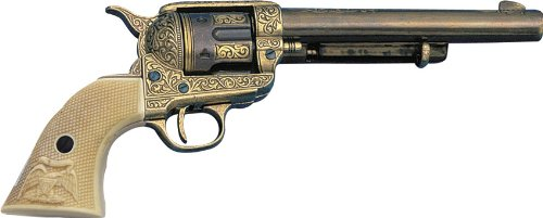 Long Barrel Revolver - Denix Model 1873 Engraved Long Barrel Gold Finish Army Revolver with Faux Ivory Handle - Non-Firing Replica