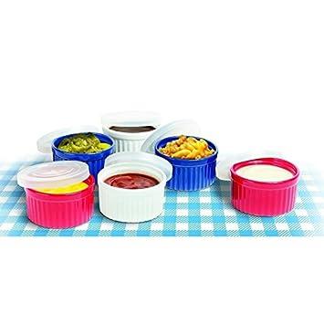 Custard Cups Ramekin Set of 6 Colorful Ceramic Ramekins With Lids
