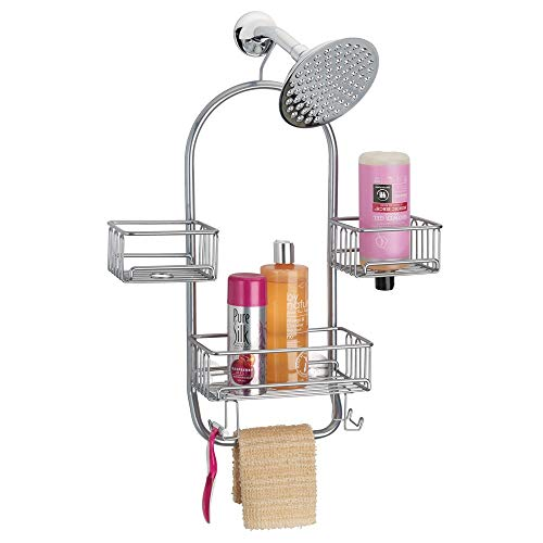 mDesign Modern Metal Wire Bathroom Tub & Shower Caddy, Hanging Storage Organizer Center - 2 Wash Cloth/Razor Hooks, 3 Baskets - for Bathroom Shower Stalls, Bathtubs - Rust Resistant Steel - Silver