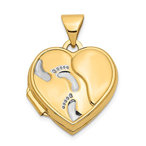 14k Yellow Gold 15mm Heart Foot Prints Photo Pendant Charm Locket Chain Necklace That Holds Pictures Fine Jewelry Gifts For Women For Her (Pendant Heart Photo Charm)