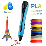 3D Printing Pen for Model Doodling - Me Suger 2019 Newest 3D Drawing Printing Pen with 12 Colors 120 Feet 1.75mm PLA Filament Refills and Stencil Safe Non-Clogging for Kids/Teens/Adults - Blue