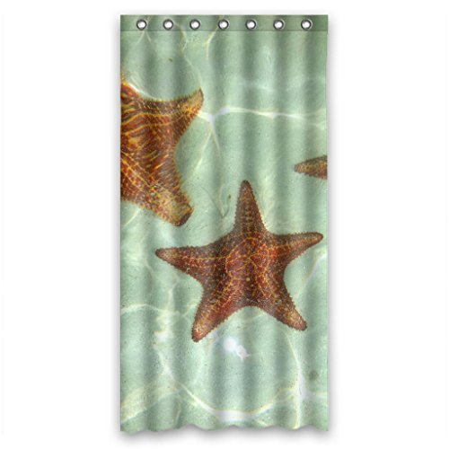 """Clear fresh water brown starfishes Shower Curtain Measure 36""""(w)x72""""(h)"""