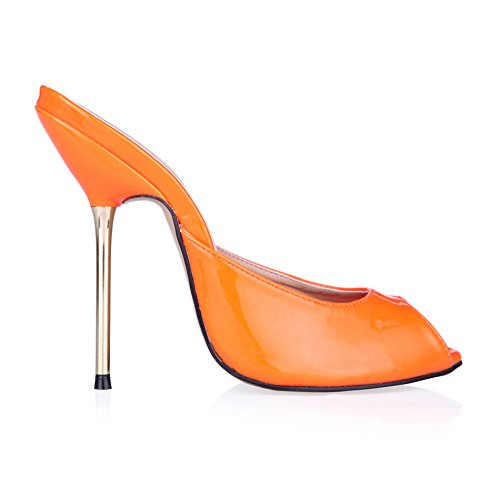 Banchetti Femmina Donna Tacco Calzature Argento Fluorescent Alto In Pearl E Scarpe Pesce Punta Di Dimensioni A Orange Sandali Grandi q5wXfdq