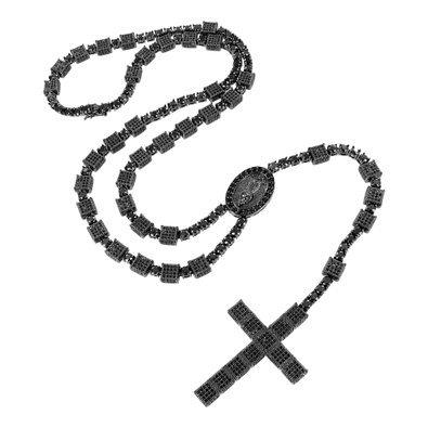 [Rosary Cross Pendant Jesus Charm Cube Round Link Black Lab Diamonds Necklace Men] (Jesus Round Charm)