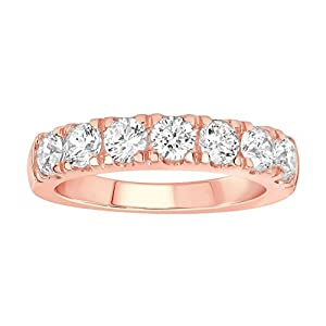 1 1/2 Carat (ctw) 14K Solid Gold Round Cut Diamond Ladies Anniversary Wedding Stackable Band Ring (rose-gold, 8)