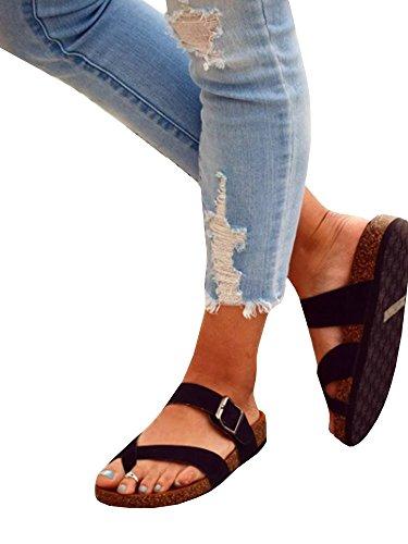 Ermonn Womens Thong Flat Sandals Gladiator Buckle Strappy Cork Sole Summer Slides (8.5 B(M) US, (Cork Strappy Sandals)