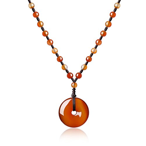 COAI Hand Knotted Healing Agate Stones Chinese Donut Pendant Mala Beads ()
